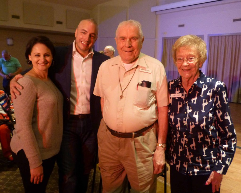 Residents at Crane's Mill were treated to a summer concert the evening of July 11 as Detective Paul Mazzeo of the West Caldwell Police Department entertained those in the audience with various songs from Broadway and popular musicians from the 1970's, 80's and 90'. Pictured with Detective Mazzeo are his wife, Joanne, along with Artie Knutsen and Bernie Farley.