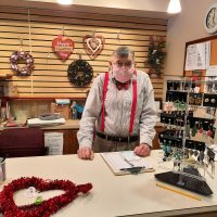 Richard working at the Gift Box