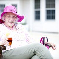 Anita enjoys outdoor dining