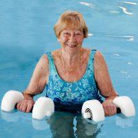 Bernie exercising in our indoor heated pool
