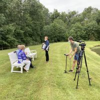 Behind-the-scenes of Mr. & Mrs. Guida's interview at Crane's Mill with John Elliott for CBS 2!