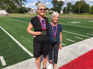 Lynn Palmer, left, and Mallory Loehr, right, won gold medals in the New Jersey Senior Olympics